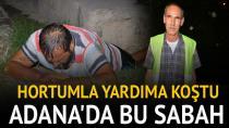 Adana'da nehre düşen alkollü kişi, uzatılan hortumla kurtarıldı