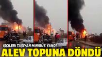 İşçileri Taşıyan Servis Aracı Yandı...