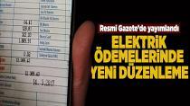 Elektrik ödemelerine yeni düzenleme
