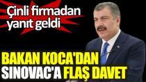 Bakan Koca'dan Sinovac'a Türkiye'de aşı üretim daveti